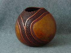 "*Gourd Art - ""Copper Trail"" by Kathe Stark"