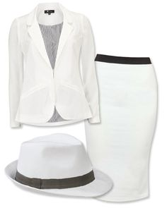 HALLOWEEN COSTUMES: SCANDAL'S OLIVIA POPE You can be the ultimate gladiator! Suit up in all white to look like Olivia Pope, fixer and all-around do-gooder (oh you know, save from partaking in an extramarital affair), complete with the legendary white hat.  Blazer: Dorothy Perkins, $57; dorothyperkins.com. Pencil skirt: Fashion Union, $19; fashionunion.com. Hat: Target, $17; target.com.