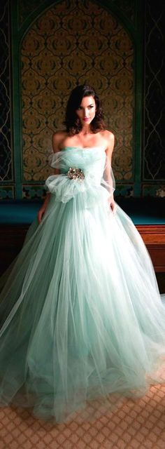 Wedding Dress ● Mint, Love, love, love the color of this dress!!! See more fashion ideas on um0.cn/14Uc2x