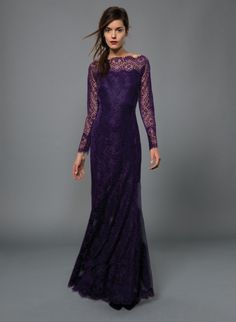 Chantilly Lace Long Sleeve Scallop Neckline Gown in Deep Amethyst | Tadashi Shoji