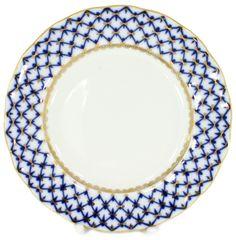"""Lomonosov Porcelain Cake Dessert Plate Tulip Cobalt Net 7""""/180 mm"""