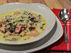 Chicken Cordon Bleu Soup-the only change I made was not using Tarragon, (I hate Tarragon).  It was awesome, reminded me of a chowder.