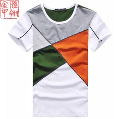 Gold fashion slim male short-sleeve summer T-shirt male shirt casual color block decoration men's clothing