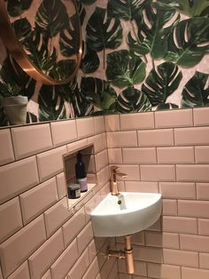 Bathrooms Pink metro tiles cloakroom toilet woodchip & magnolia wallpaper How Do Small Downstairs Toilet, Small Toilet Room, Downstairs Cloakroom, Small Bathroom, Bathroom Ideas, Bathroom Renovations, Cloakroom Toilet Downstairs Loo, Tropical Bathroom Decor, Cloakroom Ideas