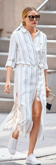 Who made  Olivia Palermo's belted shirt dress, white sneakers, brown cat sunglasses, and two tone clutch handbag?