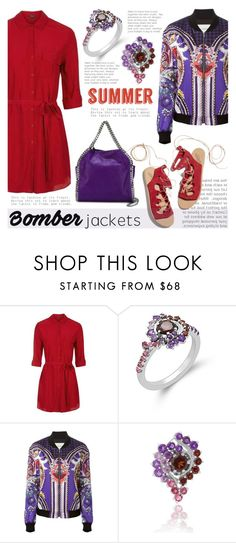 """Light Topping: Summer Bomber Jackets"" by blossom-jewels ❤ liked on Polyvore featuring Topshop, Mary Katrantzou, Ancient Greek Sandals, STELLA McCARTNEY, contestentry, bomberjackets and Blossomjewels"