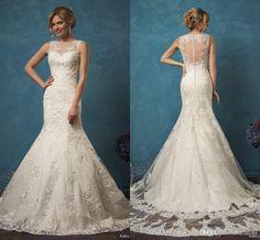 Amelia Sposa 2017 Vintage Mermaid Wedding Dresses Vestidos De Noiva Sheer Neck Button Back Lace Appliques…