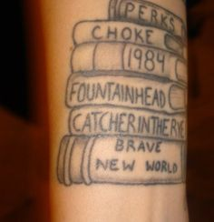 Create your own bookshelf on your body of the books that make up who you are, or were a large influence on you. I'm not sure if that's what this one is, but that was my interpretation and  I love the idea.