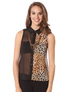 CONTRAST BUTTON DOWN BLOUSE $17.99  #papayaclothing #animal #print #contrast #model #sexy #summer