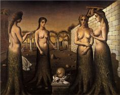 Page: Women-Trees  Artist: Paul Delvaux Completion Date: 1937 Style: Surrealism Genre: still life Technique: oil Material: canvas