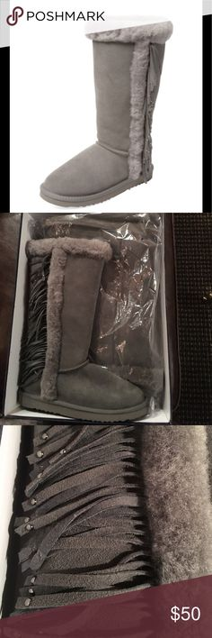 Brand New W/ Box Shearling Boots New with Box! Shearling lined boots. Size 8. Color is slate gray. Pristine condition. atwell Shoes