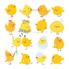 Wektor: Set of cute cartoon chickens for easter design. Vector illustration.