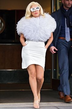 Lady Gaga rocked a fluffy top and fitted white skirt in New York City.