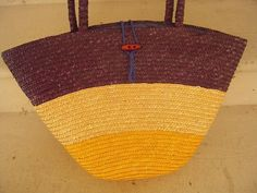 Vintage 1980s Striped Large Straw Beach Tote Fashion Purse Purple Yellow and Cream