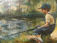 """Portrait of my son at 6 """" Gone Fishing """""""