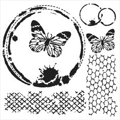 The Crafters Workshop MINI BUTTERFLY COLLAGE 6 x 6 Template TCW554S zoom image