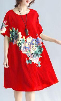 New-red-prints-linen-dress-plus-size-traveling-clothing-Elegant-wild-short-sleeve-o-neck-cotton-dresses