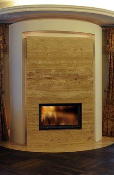 Obudowa kominka wykonana z trawertynu Toscano. / Fireplace made of travertine #Toscano. # @imarpolska Przedsiębiorstwo Kamieniarskie.