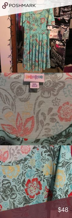 Beautiful Floral Lularoe Nicole Gorgeous Nicole, lightweight, perfect for Spring and Summer. Light blue with red, yellow, and green flowers 🌺 LuLaRoe Dresses Midi