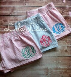 Monogrammed  Ladies Boxers, Monogrammed Seersucker Boxers. $15.75, via Etsy. These would be great bridesmaids gifts for them to wear while getting ready