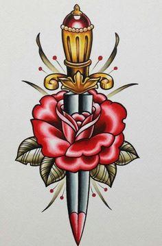 Oldschool Tattoos, Traditional Dagger Tattoo, Traditional Tattoos, Traditional Tattoo Tooth, Old School Tattoo Designs, Tatoo Art, Tattoo Flash Art, Knife And Rose Tattoo, Knife Tattoo