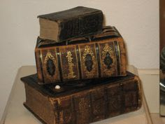 Old Leather Books and Bibles - via Cheryl's Fascinating Finds
