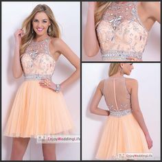 Wholesale Homecoming Dresses - Buy 2015 Homecoming Dresses Peach Sleeveless Tulle Beads Crystal Sparkling Top Short Mini Sheer Back Cocktail Gowns BL9876, $109.95 | DHgate