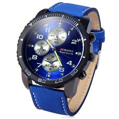 $6.23 Jubaoli Leather Band Male Quartz Watch with Rotatable Bezel Decorative Sub-dials - Blue