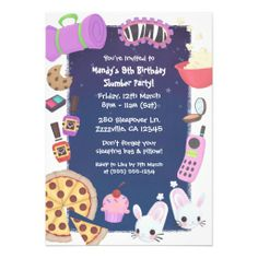 Girls Slumber Party Personalized Invitations