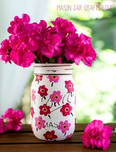 Mason Jar Crafts: Painted Pink Floral Marimekko Inspired Pattern