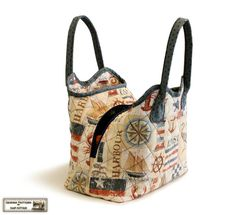 Quilted handbag sewing pattern with three pockets in PDF