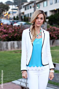 Lilly Pulitzer Scalloped Tank // J. Crew Blazer // JBrand Ripped Jeans // J. Crew Sparkly Necklace // Chanel Watch  // J. Crew Pave Bracelet // Kate Spade Bow Ring // Chanel Purse // YSL Lipstick // OPI Nails