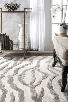 Rugs USA Gray Contemporary Zebra Print with Faux Silk Highlights Rug Safari Living Rooms, Rugs In Living Room, Living Room Designs, Living Area, Zebra Print Rug, Zebra Rugs, Round Area Rugs, Rugs Usa, Hand Tufted Rugs