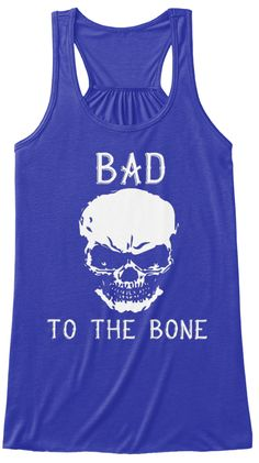 Bad To The Bone Skull Tank Top True Royal T-Shirt Front