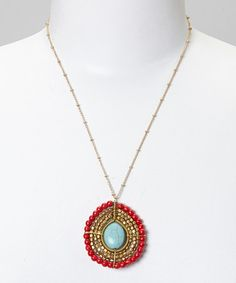 Look at this #zulilyfind! Turquoise & Red Turquoise Bead Pendant Necklace by PANNEE JEWELRY #zulilyfinds