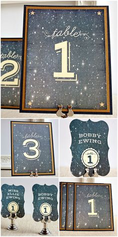 starry night navy blue & gold wedding table number ideas