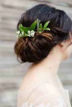 Splendid greenery wedding hair updo