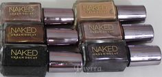 Urban Decay Naked Nail Polish Set Review and Swatches. Toasted, Sidecar, Naked, Creep, Hustle, Smog.