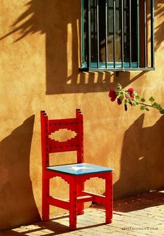 New Mexico Sun, Adobe, and Red Chair. An iconic. New Mexico Style, Santa Fe Style, Mexico Art, Hacienda Style, New Mexican, Land Of Enchantment, Southwest Style, Southwestern Art, Mellow Yellow