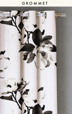 Curtain : Magnolia // Large // Black + White - drop it MODERN - Modern and contemporary interior designed curtains for the studio and home. | #curtains #InteriorDesign #HomeDecor #bedroom #bathroom #kitchen #LivingRoom #designer #luxury #tradit