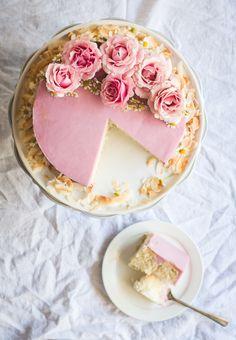 Recipe; Lemon Cake with Haupia Filling & Hibiscus Buttercream