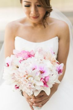 Pink and White Dahlia and Orchid Bouquet - Bridal Bouquet - Trending Photos