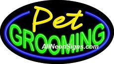 """Pet Grooming Flashing Neon Sign-ANSAR14268  Dimensions: 17""""H x 30""""L x 3""""D  Custom colors ship in 5-7 business days  110 volt flasher transformer  Cool, Quiet, and Energy Efficient  Hardware & chain are included  Comes standard with 6' power cord  Indoor use only  1 Year Warranty/electrical components  1 Year Warranty/standard transformers."""