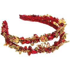 Thin bridal headband Gold red double band tiara Baroque bridal... (170 PLN) ❤ liked on Polyvore featuring accessories, hair accessories, jeweled headband, gold bridal tiara, crystal bridal headband, gold hair accessories and bride tiara