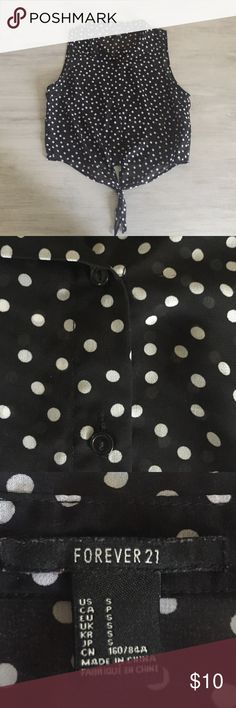 Polkadot crop top Black and white polkadot button down crop top. Ties and the bottom. WORN ONCE! Forever 21 Tops Crop Tops
