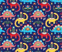 Folk Art Dinosaurs fabric by kritterstitches on Spoonflower - custom fabric