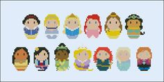 Disney Princesses (with Merida, Elsa and Anna) PDF pattern by CloudsFactory