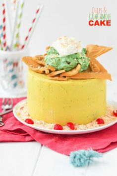 Chips and Guacamole Cake -- so fun! Chips and guacamole are made from candy and pudding/whipped cream. Love this idea for a birthday!!