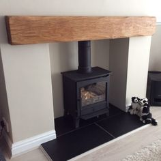 Wooden Floating Shelves Bathroom floating shelves under tv ikea hacks. Wood Burner Fireplace, Oak Mantle, Wooden Mantle, Inglenook Fireplace, Fireplace Shelves, Fireplace Mantle, Fireplaces, Mantle Shelf, Rustic Mantle