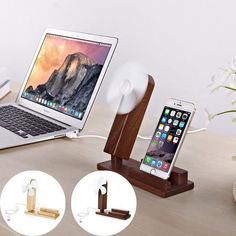 Bamboo Wooden Stand 2 in 1 Mobile Phone Holders Wood Stander for iPad iPhone with Mini Fan Gift